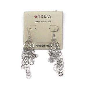 Macy's 925 Silver Circle Dangle Earrings NWT